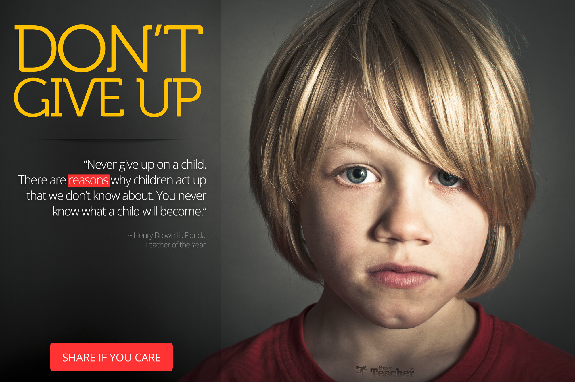 Never Give Up On A Child: Poster