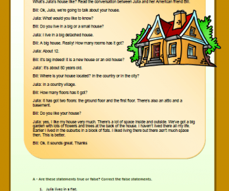 Julia's House Reading Comprehension Worksheet