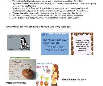 You Are What You Eat - Intermediate / Advanced Reading Practice