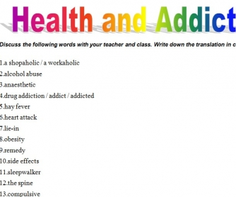Health & Addictions Vocabulary
