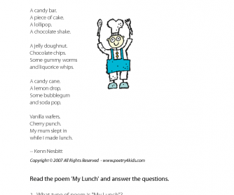 Reading Comprehension - My Lunch