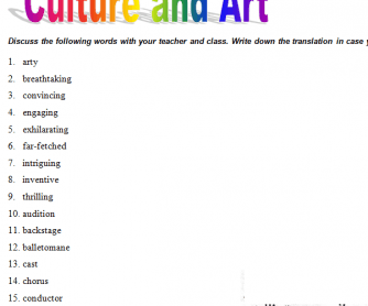 Culture & Art Vocabulary