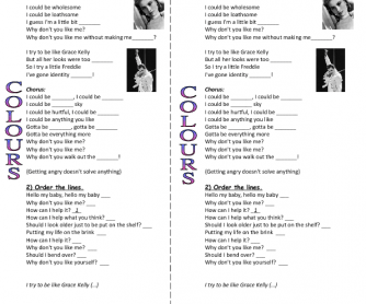 Song Worksheet: Grace Kelly by Mika