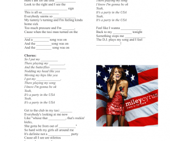 Song Worksheet Party In The Usa By Miley Cyrus