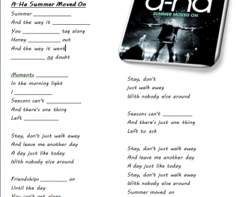 Song Worksheet: Summer Moved on by A-Ha
