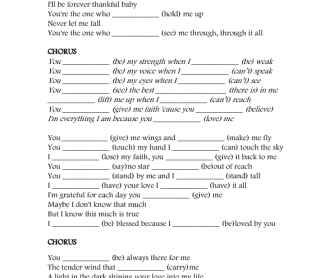 Song Worksheet: Because You Loved Me by Jesuton