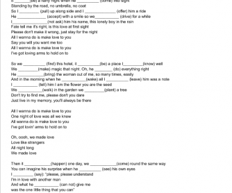 Song Worksheet: All I Wanna Do Is Make Love to You by Heart ( Past Simple)