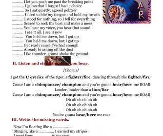 Song Worksheet: Roar by Katy Perry ( 5 Activities)