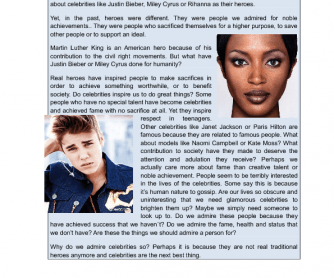 Reading Comprehension- Famous People