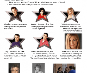 Movie Worksheet: Friends - the One with Ross's Wedding (Part 1)