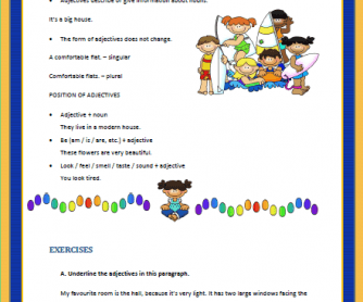 Adjectives Elementary Worksheet