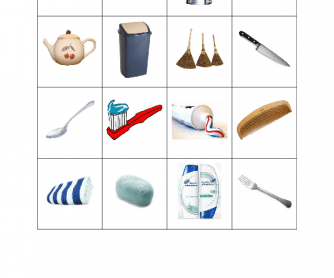 Everyday Objects Bingo Cards (4x4, 9 cards)