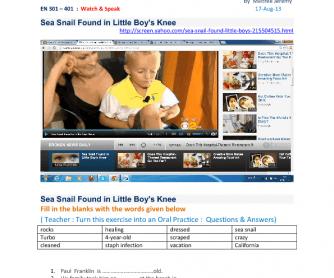 Movie Worksheet: Sea Snail Found in Little Boy's Knee