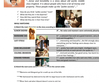 Movie Worksheet: Sense and Sensibility