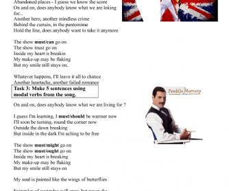Song Worksheet: Show Must Go On by Queen
