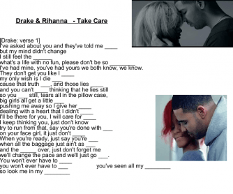 Song Worksheet: Take Care by Drake & Rihanna