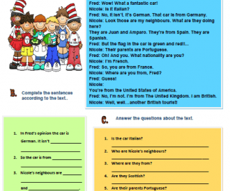 Countries and Nationalities Reading Worksheet