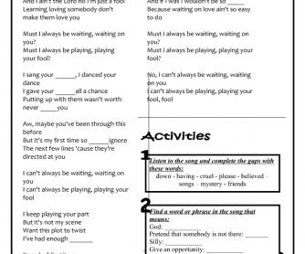 Song Worksheet: Sitting, Waiting, Wishing