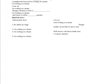 Song Worksheet: Working on a Dream by Bruce Springsteen