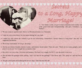 Secrets to a Long, Happy Marriage