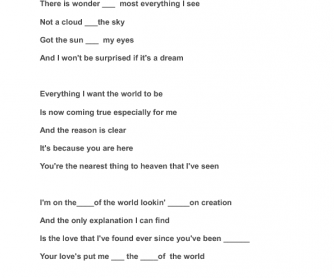 Song Worksheet: Top of the World - by the Carpenters