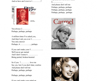 Song Worksheet: Perhaps, Perhaps, Perhaps by Doris Day