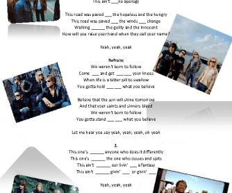 Song Worksheet: We Weren't Born to Follow by Bon Jovi