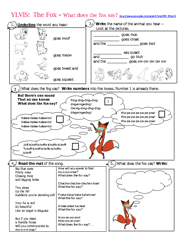 song worksheet what does the fox say by ylvis