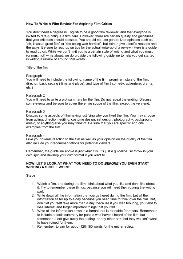Sample Movie Review A Film Review Example Of How To Write A Movie In
