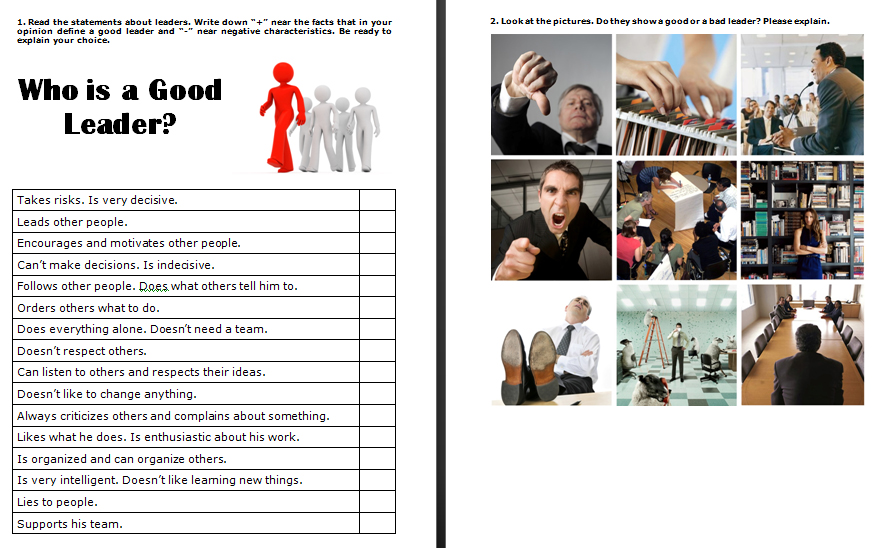 Is a Good Leader – Leadership Worksheets
