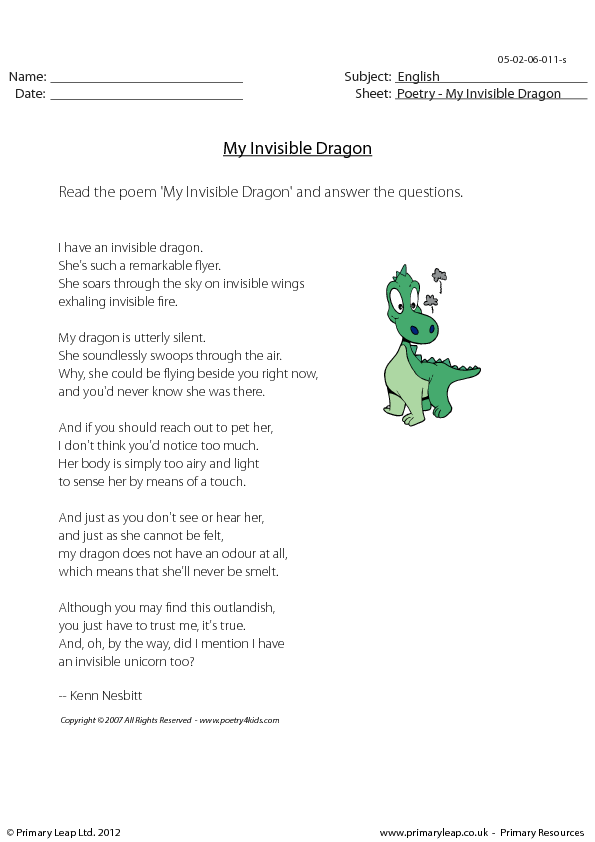 Reading Comprehension My Invisible Dragon