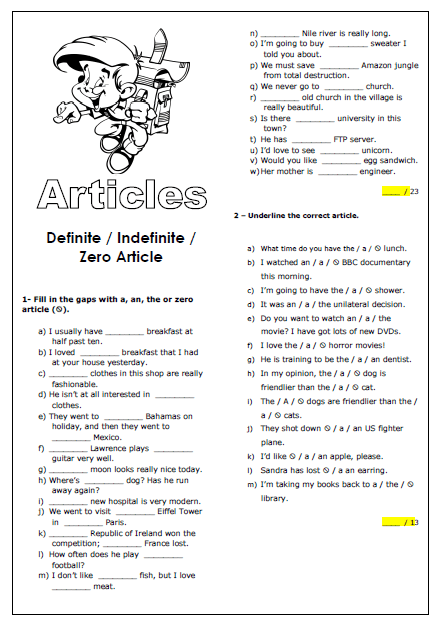 Definite Indefinite And Zero Article Worksheet
