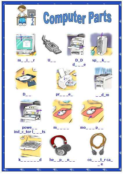 Computer Parts Missing Letters Activity