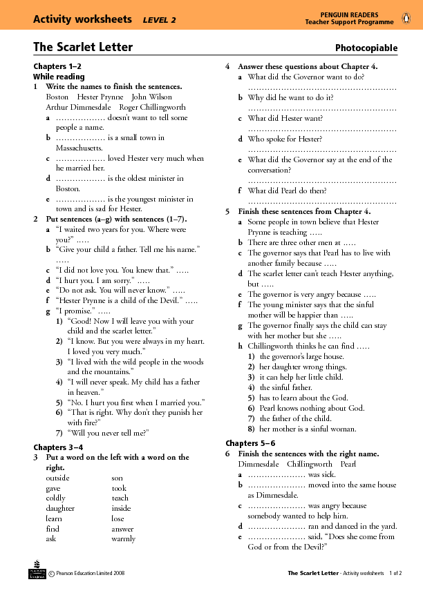 The Scarlet Letter Ch  Activity