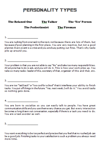Types (in Time Management)