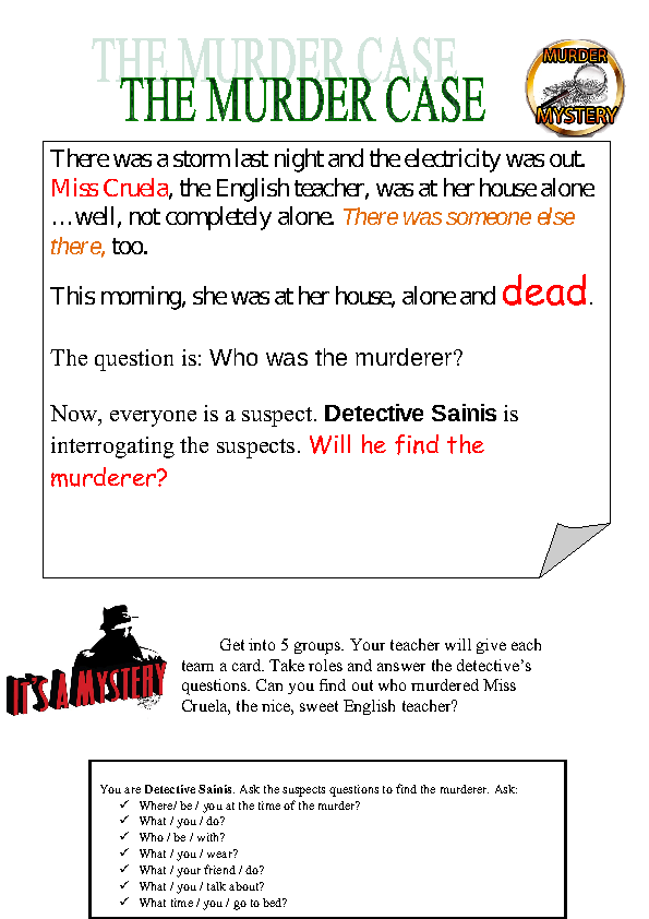 17460 Murder Mystery on Crime Scene Investigation Math Worksheet
