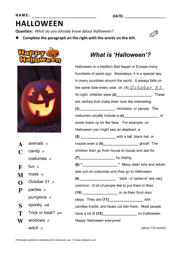 is Halloween? 2- to 3-hour Сomplete Lesson