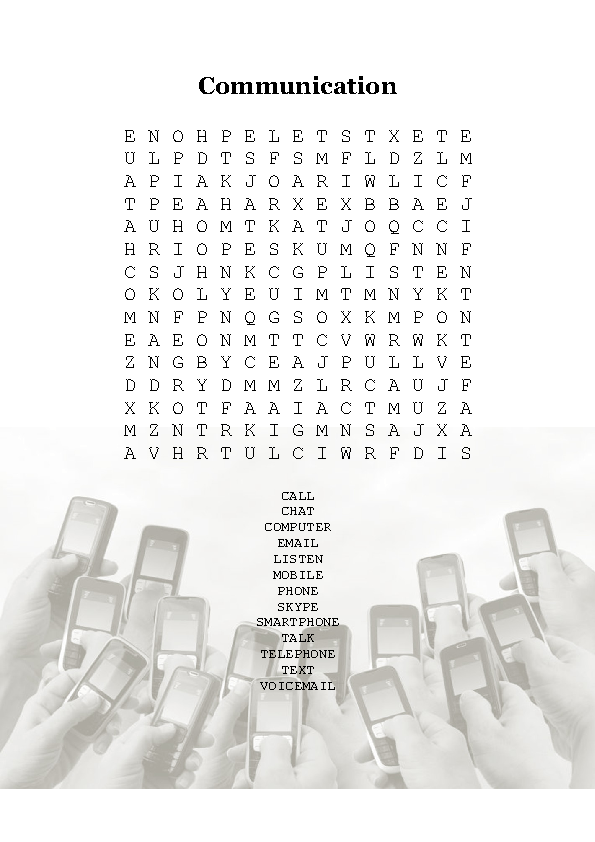 Wordsearch - Communication Vocabulary