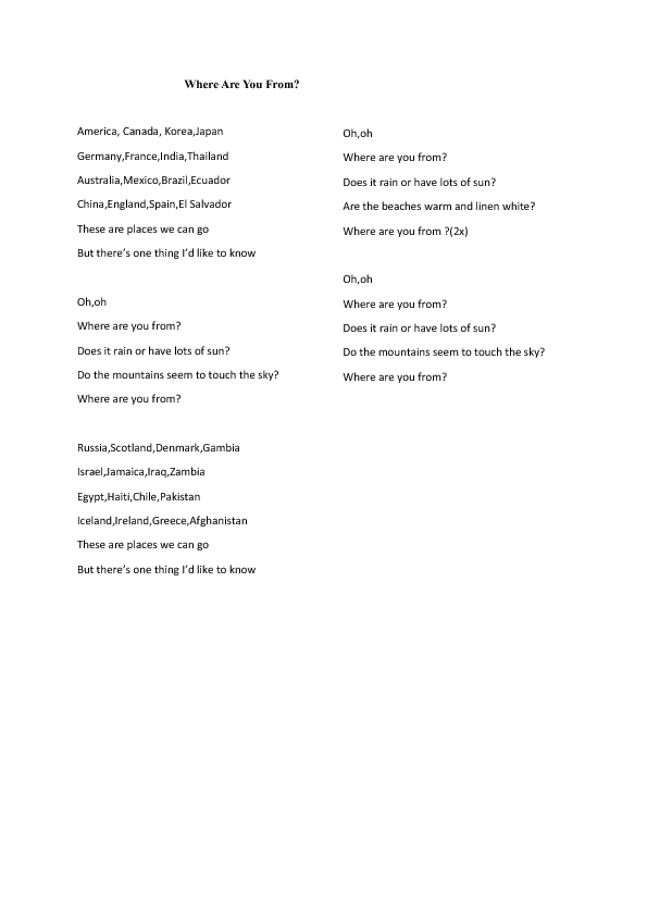 Lyric rain song lyrics : Worksheet: Where Are You From