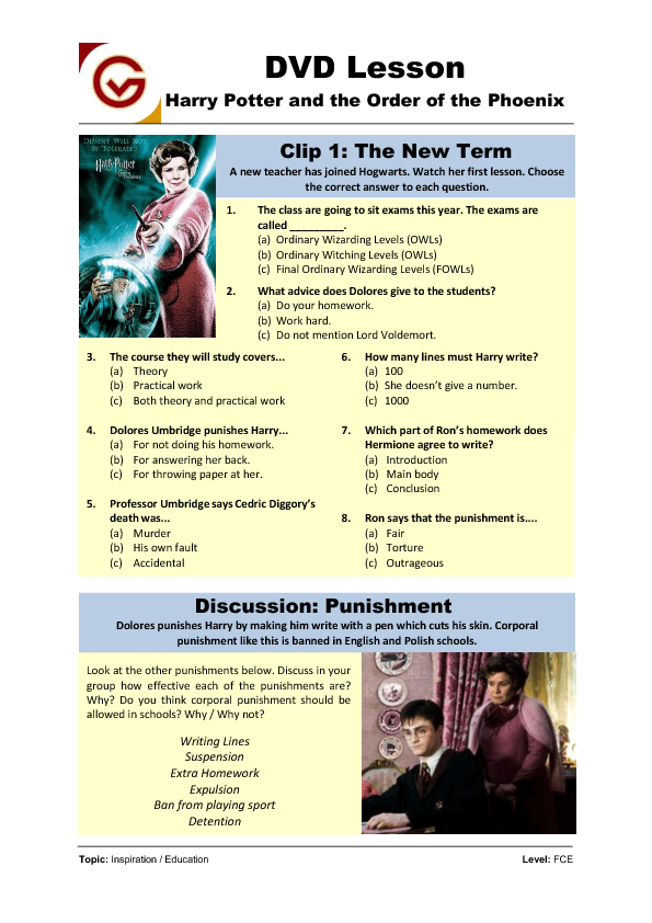 Harry Potter: Simple Future Worksheet Movie Worksheet: Harry Potter ...