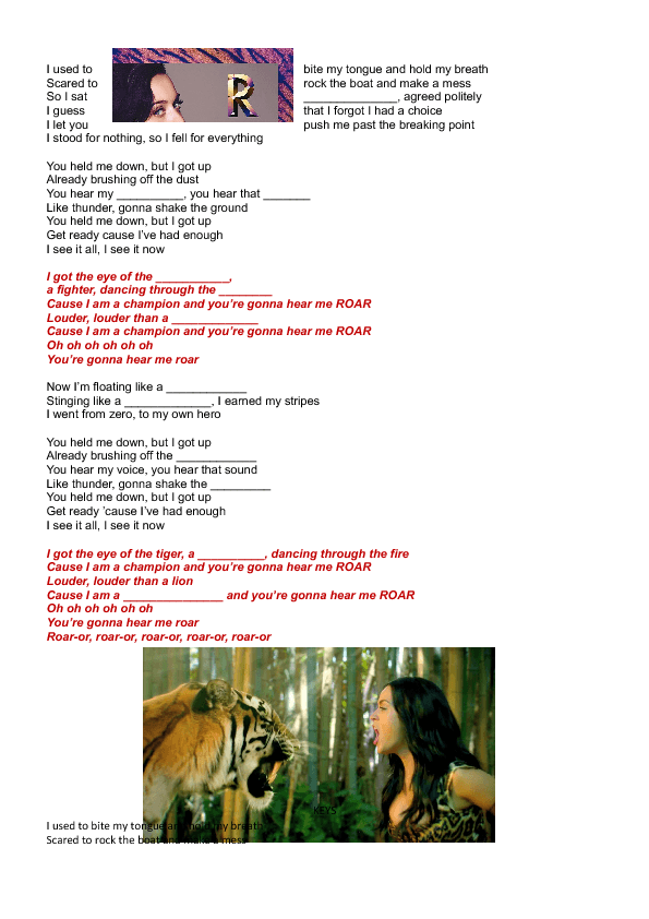Song Worksheet Roar By Katy Perry