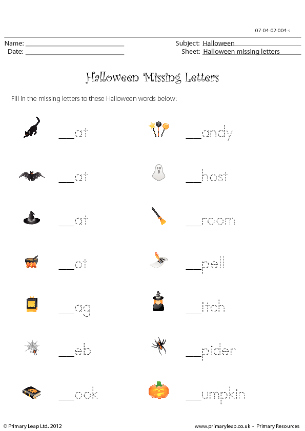 halloween - missing letters