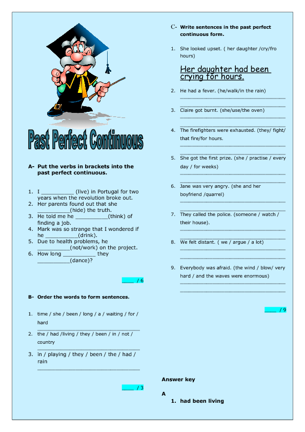 Perfect Continuous Intermediate Worksheet – Past Perfect Worksheet