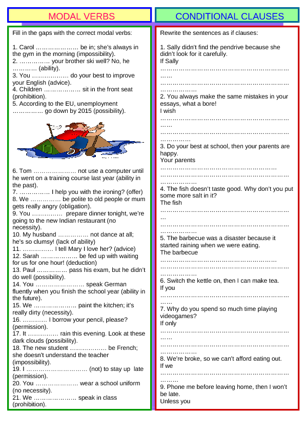 Review 5 Modal Verbs Amp Conditional Clauses Key