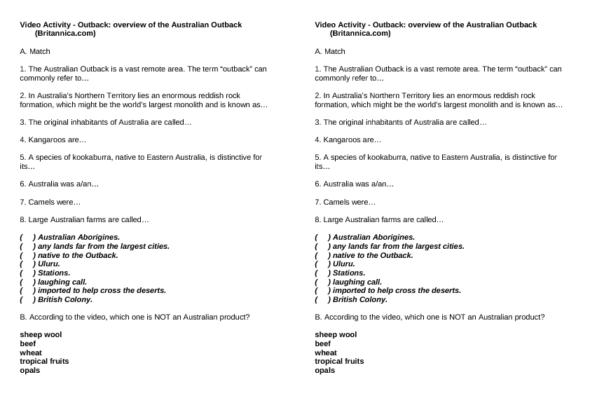 movie worksheet outback overview of the australian outback. Black Bedroom Furniture Sets. Home Design Ideas