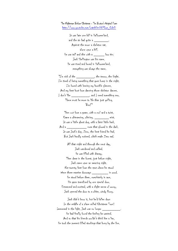 Worksheet: The Nightmare before Christmas Poem (Halloween)