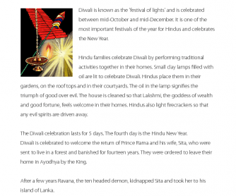 The Celebration of Diwali - Comprehension