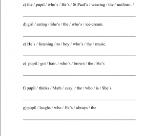 Practice of Relative Pronoun 'Who' with YL