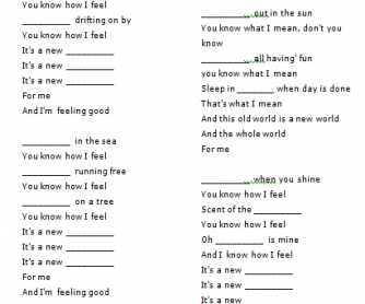 Song Worksheet: Feeling Good by Michael Buble