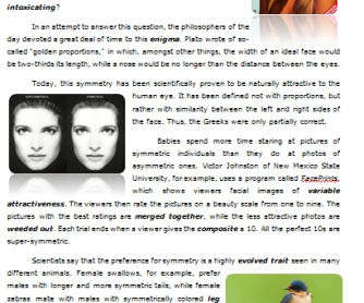 Reading Worksheet: Looking Good. The Psychology and Biology of Beauty